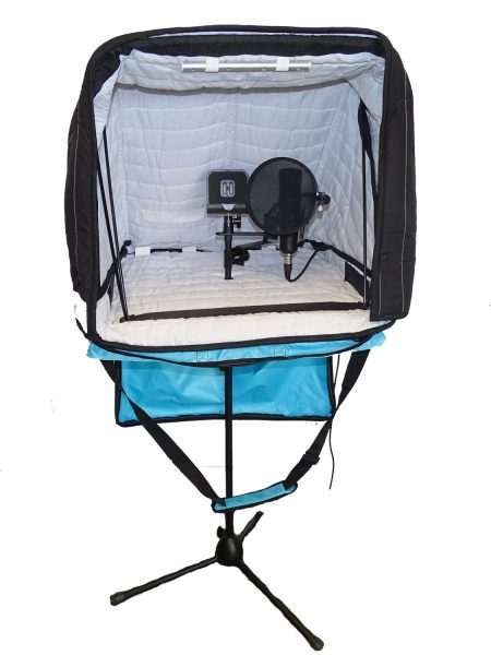 Carry-on Portable Vocal booth on a mic stand